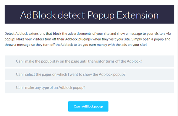 AdBlock detect popup extension