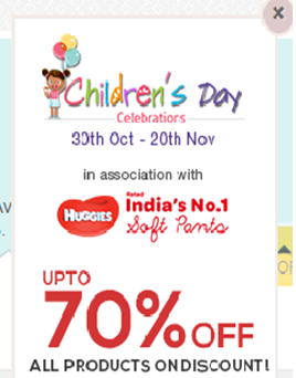 Image popup up to 70% off on Children's day
