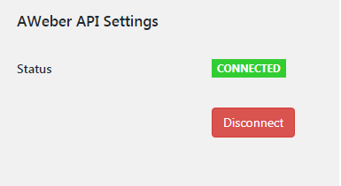AWeber API Settings Status Connected