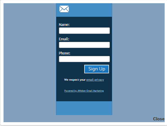 AWeber popup subscription form