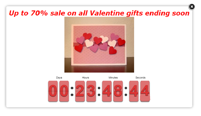 Countdown-popup-Valentines-day-70-sale-ending-soon-hearts-counter-showing-23-hours-48-minutes-and-44-seconds