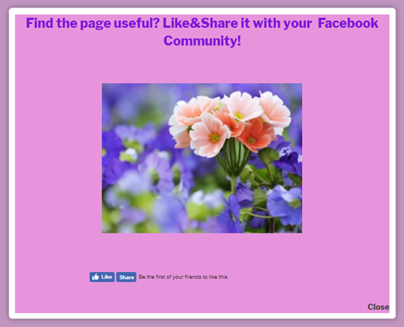 Facebook popup Find the page useful? Like and share it with your Facebook community