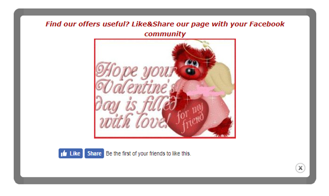 Facebook-popup-Valentines-day-a-red-bear-with-a-heart-in-hand-Facebook-like-and-share-buttons-below