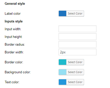 General style inputs style colors and dimensions