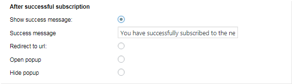 Actions to perform after successful subscription