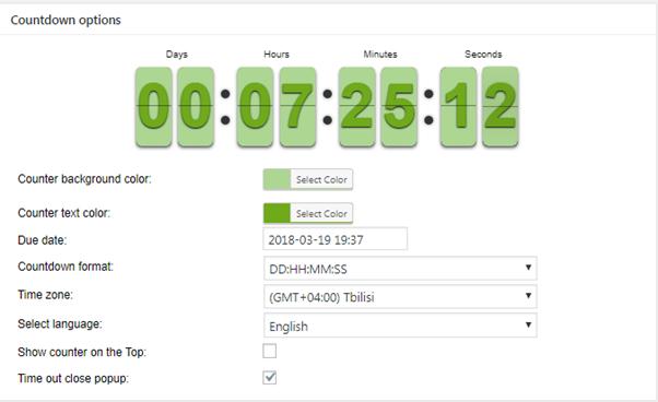 Countdown options