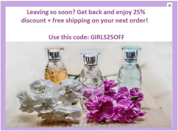Exit-intent popup women parfume discount