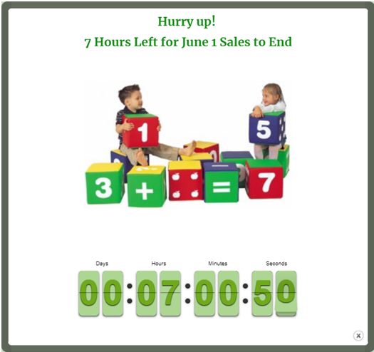countdown popup toys children's day sale ending