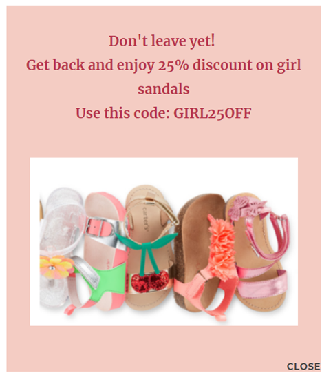 Exit Intent popup sale on girl sandals