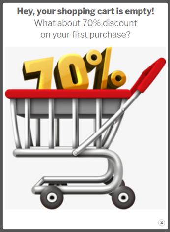 Woo-Commerce popup cart is empty behavior a basket showing 70% discount