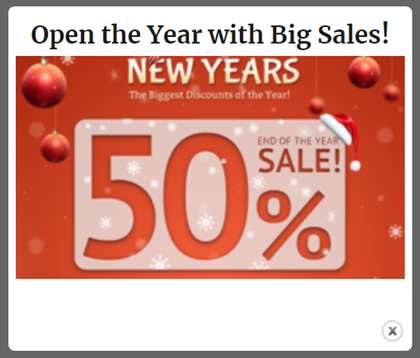 HTML popup Open the year with big sales